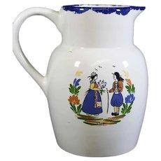 Pristine Breton Pattern Ceramic Handled Jug -