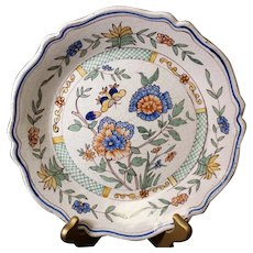 Classic Bird & Flora French Ceramic Hand-Painted Decor Plate from Bouchet