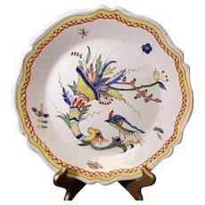 Classic Bird French Ceramic Decor Plate from Bouchet