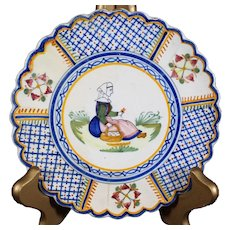 Henriot Quimper - Handpainted Decor Plate Depicting Breton Woman