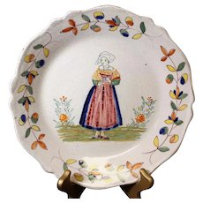 French Provincial Hand-Painted Decor Plate of Woman in Local Costume