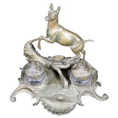 Leaping Deer Metal Double Inkwells