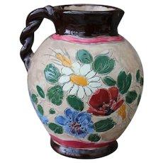 Jerome Massier Vallauris Floral Design Handled Jug