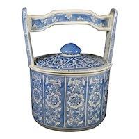 Lidded Handled Large Ceramic Chinese Blue & White Jar
