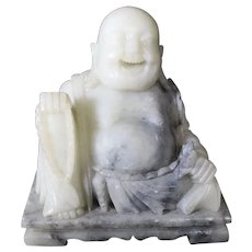 Marble Seated Oh So Happy Buddha on Base