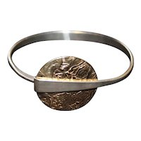 Ed Levin Sterling Silver & 14kt Gold Up & Over Bracelet