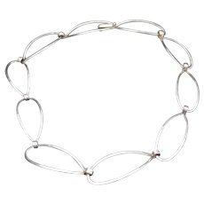 Ed Levin Hammered Silver Linked Necklace