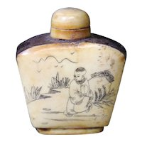 Tapered Man & Boy Etched Snuff, Medicine or Perfume Bottle