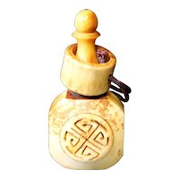 Etched Symbol Snuff, Medicine or Perfume Bottle with Attached Ring