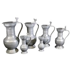 Pewter Covered Jugs With Acorn Decor - Set of Six