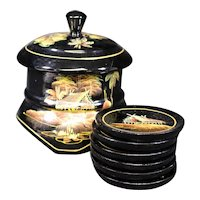 Lacquered Asian Themed Decorative Box with Six Coasters