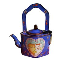 Goebel Clare Maddicott Enamel Cat Design Teapot