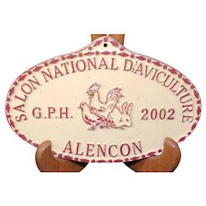 French 2002 Agricultural Show Prize Plaque – Chickens & Poultry
