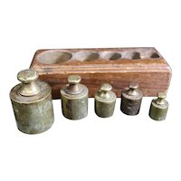 Apothecary or Vendor Brass Weights in Wooden Block