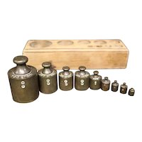 Set of Nine Apothecary or Vendor Brass Weights in Wooden Block