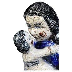 Holy Mother & Child Salt Glazed Ceramic German Figurine