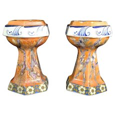 Marble Patterned Ceramic Decorative Pillars or Stands - Pair