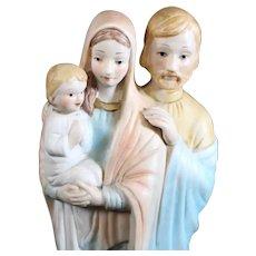 Jesus, Mary & Joseph Porcelain Statue - Mid 20th Century