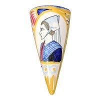 Henriot Quimper Cone Shaped Wall Vase