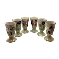 Set of Six French Floral Goblets