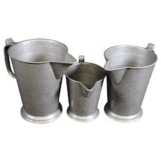 Very Rare Set of Three Aged Rose Mark Measuring Jugs or Cups - Pewter