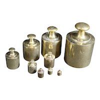 Set of Nine Old Brass Weights