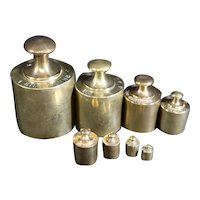 Set of Eight Old Brass Weights