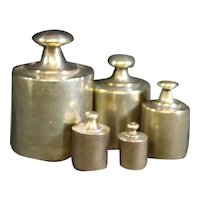 Set of Five Old Brass Weights