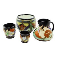 Gouda Signed Ceramic Vases, Bowl & Jug