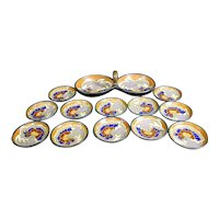 Dutch Pottery Set of 12 Dishes and Double Dish with Handle