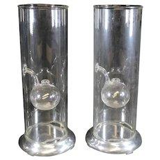 Jon Wolfard Pair of Elegant Art Glass Oil Lamps