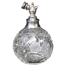 Silver Topped & Crystal Cut Perfume Atomizer