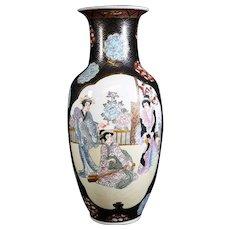 Japanese Double Paneled Porcelain Vase with Geisha Girls