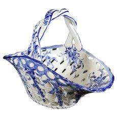 Pierced Blue Ceramic Wrapped Handle Basket