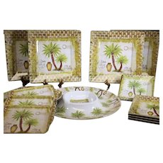 Palm Tree Design Set of Plates & Serving Dishes - Melamine