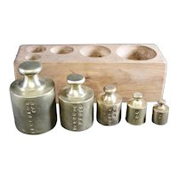 Set of Five Old Brass Weights in A Wooden Block