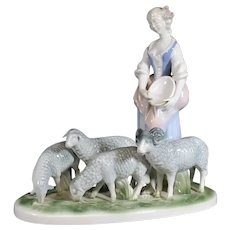 Gerold Porzellan Shepherdess with her Flock of Sheep