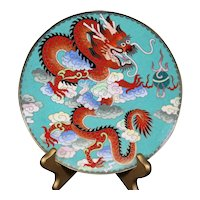 Chinese Cloisonné Enamel Red Dragon Charger or Plate