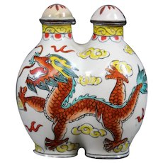 Rare Double Snuff or Perfume Bottle - Dragon Motif