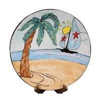 Summertime - Beach & Palm Tree Scene Hand Painted Platter