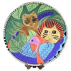 Laurel Burch Jungle Themed Colorful Ceramic Platter