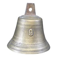 Bronze Cast Classically Shaped Bell With 9 on Front