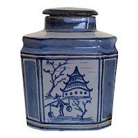 Laurentz Hjorth - Blue Ornate Stoneware Canister