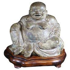 Smiling Bronze Happy Buddha on Stand