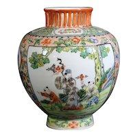 Stunning Famille Verte Hand Painted Porcelain Vase