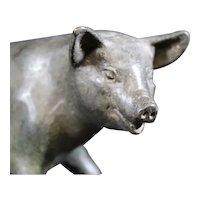 Sitting Bronze Smiling Pig Figure Statue
