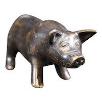 Staring Bronze Smiling Pig Figure Statue