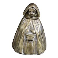 Mysterious Bronze Hooded Lady Hand Bell
