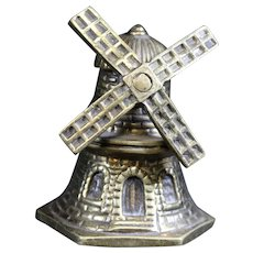 Windmill Themed Bronze Petite Hand Bell