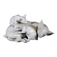 Lladro Trio of Mother Pig & Piglets - Jose Roig
